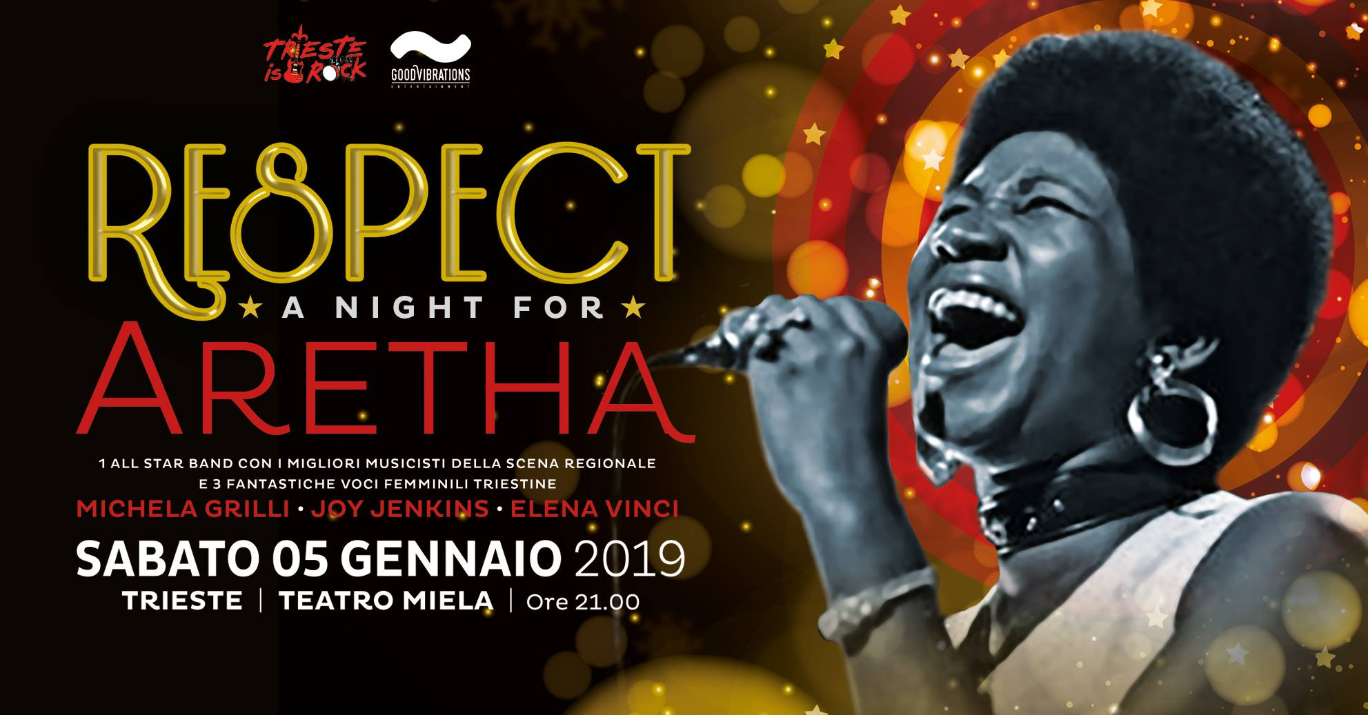 """Respect – A night for Aretha"" il 05.01.19 al Teatro Miela"